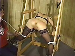 Cute hottie with nice naturals bound for a BDSM session