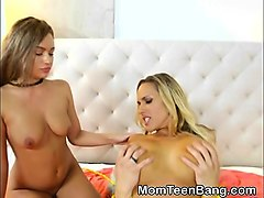 dirty blonde teen teagan james and milf riding in threesome