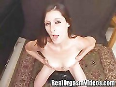 Tall Thin Brunette Orgasms Riding the Sybian