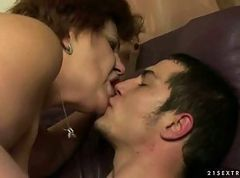 Lusty fat grandma fucking with boy