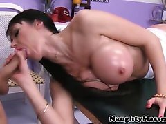 massage client babe horny for cock