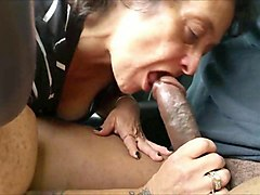 kinky grandma blowing a black dick