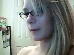 Blonde With Glasses On Webcam