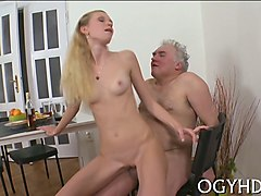 sitting on the old mans dick then she orgasms
