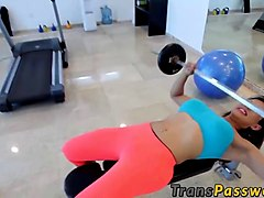 hot shemale naomi chi gets fucked after a workout in a gym