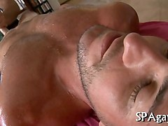 mature stud banging his massage client for a discount