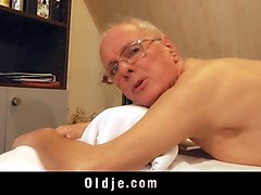 old man fucks young blonde masseuse cumshot mouth