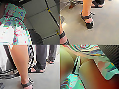 Thong upskirt shot of a slutty chick in the bus