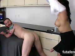 girls fuck bfs butt hole with oversized strapon dildos and splash load