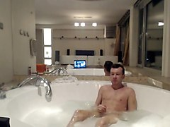 Me jerking off in the jacuzzi and cum for the cam
