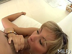 short haired blonde milf honey sucks a dick and rides it later