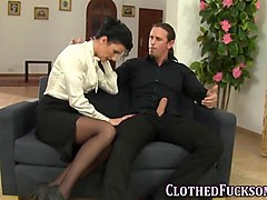 glam clothed ho cum faced feature