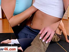 yoga girls get creampied in a thressome after yoga class