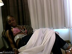 black shemale with a hairy prick blows a cock and masturbates