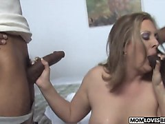 BBC gangbang for mom Keira Kensley in front of her son