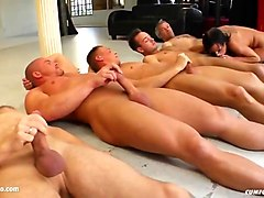 group cumshots for lady angel on cum for cover in a blowbang scene